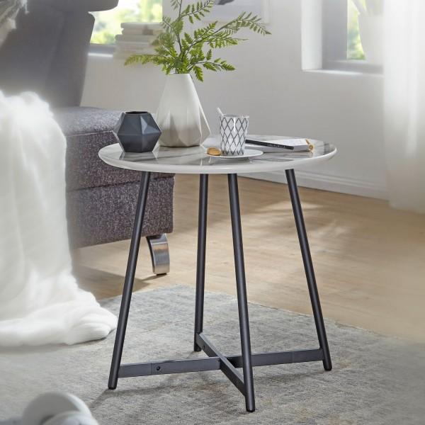 WOHNLING Beistelltisch Rund 50 x 50 cm mit Marmor Optik Weiß | Wohnzimmertisch mit Metall | WL6.003
