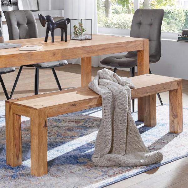 WOHNLING Esszimmer Sitzbank MUMBAI Massiv-Holz Akazie 120 x 45 x 35 cm Holz-Bank Natur-Produkt Küche