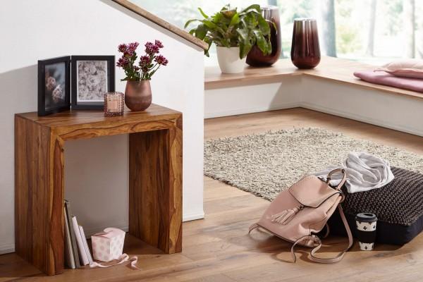 WOHNLING Beistelltisch MUMBAI Massiv-Holz Sheesham 60 x 35 cm Wohnzimmer-Tisch Design dunkel-braun