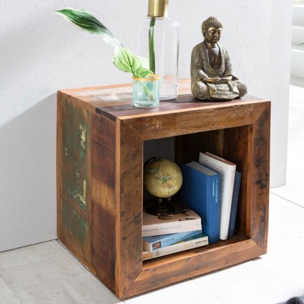 WOHNLING Beistelltisch Riverboat 45 x 45 x 35 cm   Massivholz Cube Tisch für Wohnzimmer   Wohnzimmer