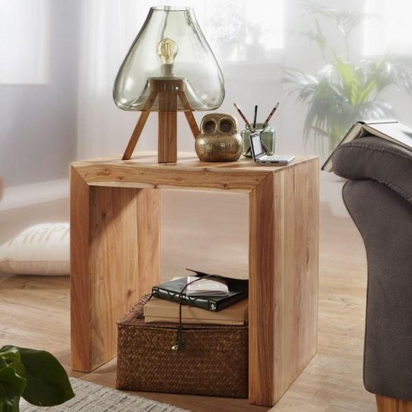 WOHNLING Beistelltisch Massiv-Holz Akazie 60 x 35 cm