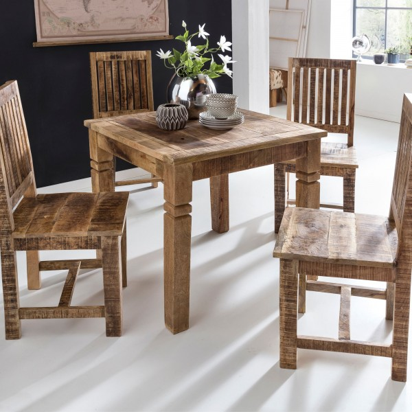 WOHNLING Esszimmertisch WL5.077 Braun 80 x 80 x 76 cm Mango Massivholz | Design Landhaus Esstisch