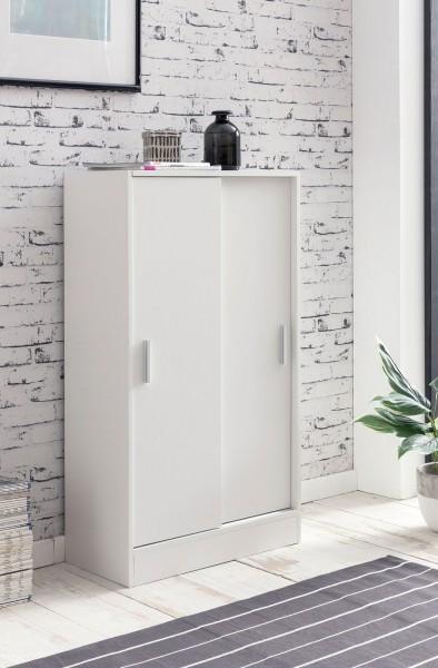 WOHNLING Aktenschrank WL5.817 Holz 60 x 107,5 x 28,5 cm Weiß | Design Mehrzweckschrank | Büroschrank