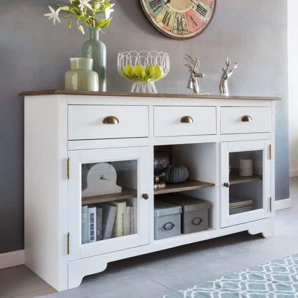 WOHNLING Sideboard MAYLA mit 2 Türen 140 x 85 x 45 cm Weiß / Braun Holz Glas Kommode | Design