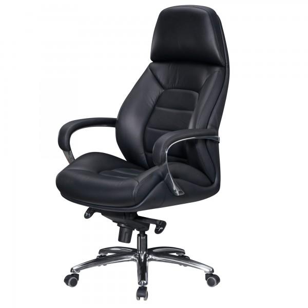 Amstyle Designer Bürostuhl Bezug Echtleder Schwarz Schreibtischstuhl bis 120 kg   XXL SPM1.435