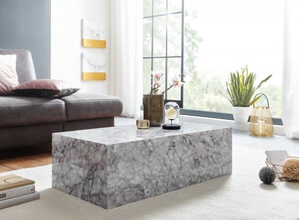 Wohnling Couchtisch 100x30x50 cm MDF Hochglanz mit Marmor Optik Weiß | Design Wohnzimmertisch