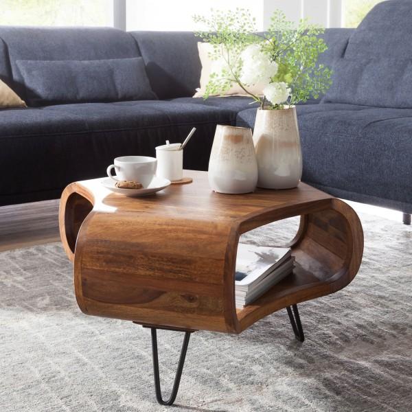 WOHNLING Design Retro Couchtisch 55x38x55 cm Sheesham Massiv Holz