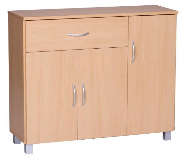 WOHNLING Sideboard JARRY Buche mit 1 Schublade & 3 Türen 90 x 75 x 30 cm | Design Kommode aus Holz