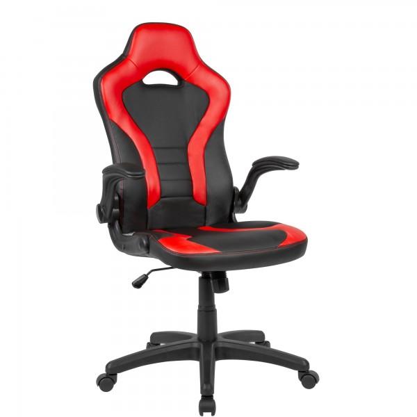 Gaming-Drehstuhl Bezug Kunstleder Schwarz/Rot Schreibtischstuhl bis 120 kg