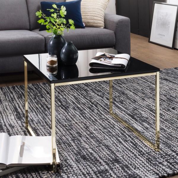 WOHNLING Couchtisch RIVA 60x50x60 cm Metall Holz Sofatisch Schwarz / Gold