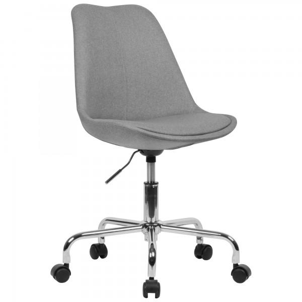 Schreibtischstuhl Hellgrau Stoff   Design Drehstuhl mit Lehne mit 110 kg