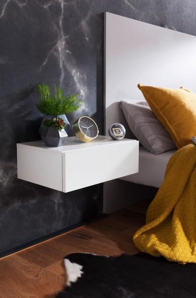 WOHNLING Nachtkonsole DREAM für Wandmontage 46x15x30cm Weiß Nachttisch Holz | Wandregal mit Schublad