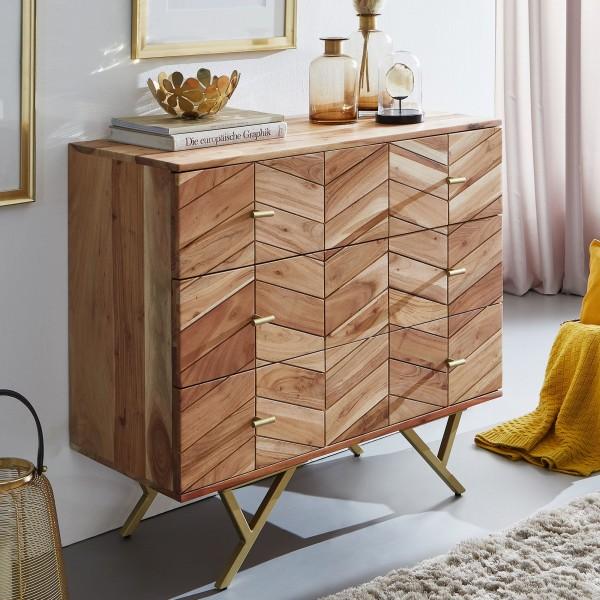 WOHNLING Design Sideboard 90 cm WL6.161 Akazie Massivholz / Metall