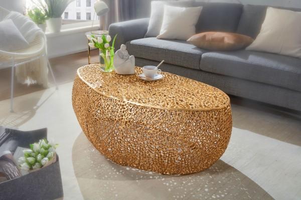Wohnling Couchtisch 110 cm Aluminium Gold Design Loungetisch Oval | Ast-Struktur