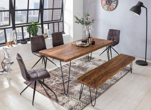 WOHNLING Esstisch BAGLI Massivholz Sheesham 180 cm Esszimmer-Tisch Holztisch Metallbeine Küchentisch