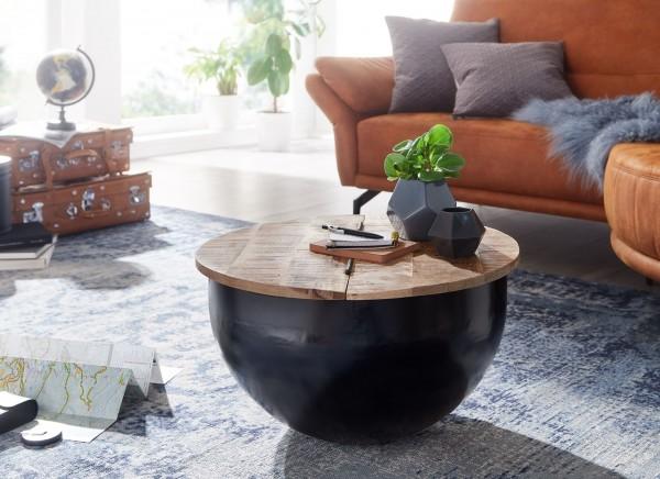 Designer Couchtisch Mango Massivholz Metall 60 cm Industrial Style Rund