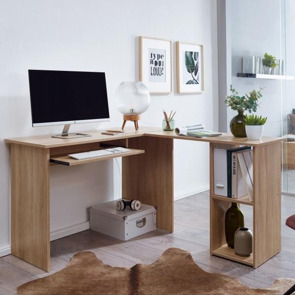 Wohnling Design Schreibtischkombination 140 x 75,5 x 120 cm Sonoma mit Regal