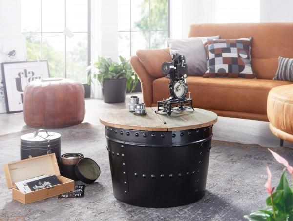 Wohnling Couchtisch Mango 60x40x60 cm Massivholz Metall Schwarz Industrial Rund