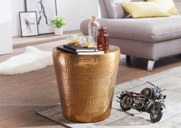 WOHNLING Beistelltisch VIKRAM 41x41x41cm Aluminium Gold Dekotisch orientalisch rund   Hammerschlag