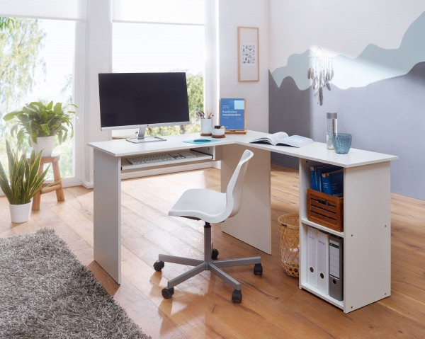 Design Schreibtischkombination 140 cm Weiß   Schreibtisch mit Regal und Tastaturauszug