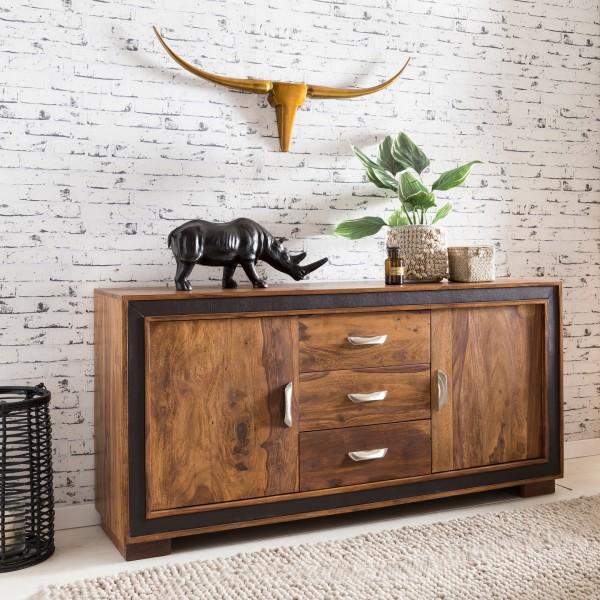 WOHNLING Design Sideboard KARAN Sheesham Massivholz mit Kunstleder 160x44x80 cm | Anrichte im rustik