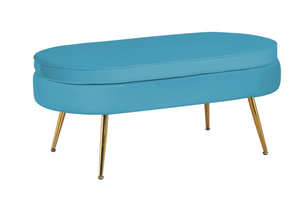 Sitzpouf oval aus Samt Blau