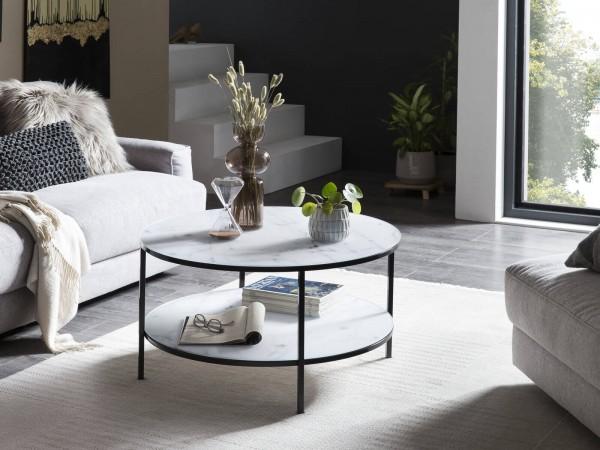 Wohnzimmer Couchtisch mit 2 Ablagen Ø 80 cm schwarz, Glassplatte Weiß Marmoroptik