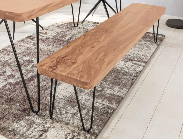 WOHNLING Esszimmer Sitzbank BAGLI Massiv-Holz Akazie 160 cm Holz-Bank