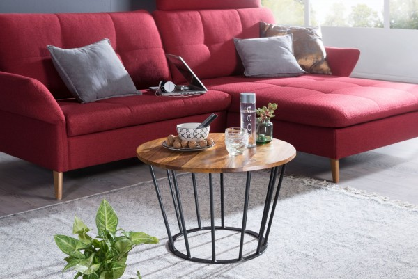 WOHNLING Couchtisch 62 cm Sheesham Holz Metall | Industrial Style