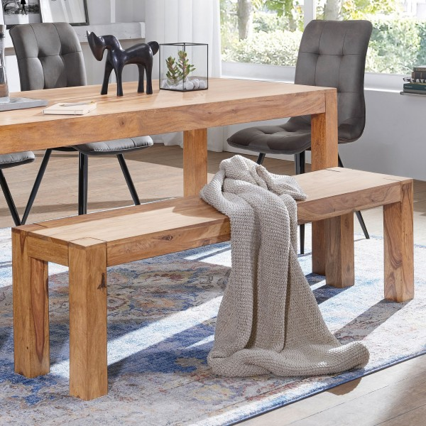WOHNLING Esszimmer Sitzbank MUMBAI Massiv-Holz Akazie 140 x 45 x 35 cm Holz-Bank Natur-Produkt Küche