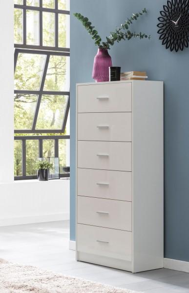 WOHNLING Design Highboard 60x130x30 cm breite mit 6 Schubladen Weiß Hochglanz