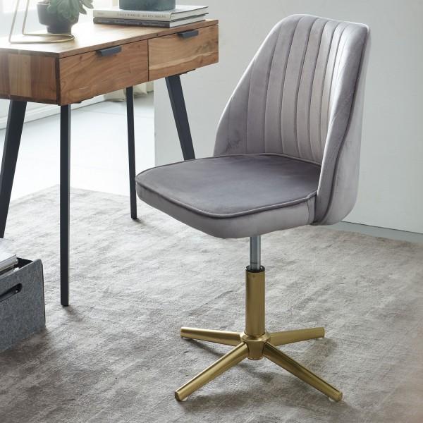 Design Drehstuhl Grau Samt Drehbar   Küchenstuhl ohne Rollen   Bequemer Schalenstuhl Esszimmer   Gep