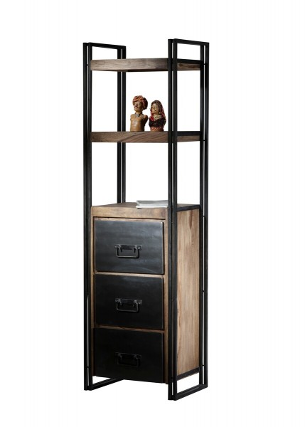 Sit Möbel PANAMA Regal Akazie   L 60 x B 40 x H 200 cm   natur / antikschwarz   09297-01
