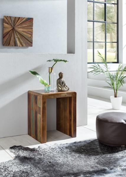 WOHNLING Beistelltisch Kalkutta 45 x 40 x 55 cm | Massivholz Couchtisch Wohnzimmer Tisch