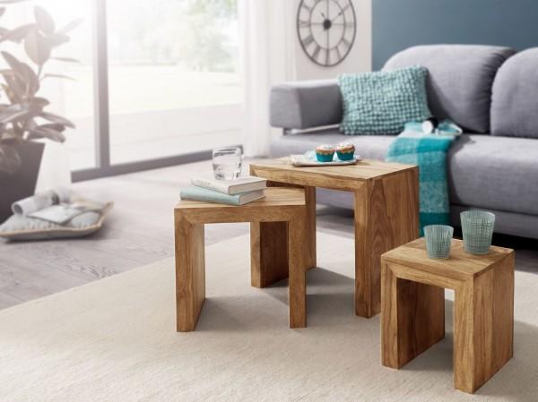 WOHNLING 3er Set Satztisch MUMBAI Massiv-Holz Akazie Wohnzimmer-Tisch Landhaus-Stil Beistelltisch