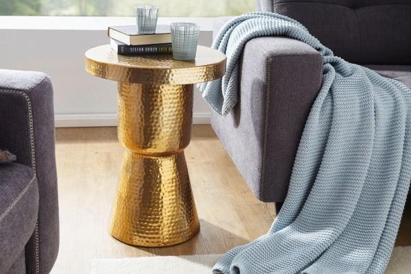 WOHNLING Design Beistelltisch DELYLA 43x59x43 cm Aluminium Gold | Dekotisch orientalisch rund
