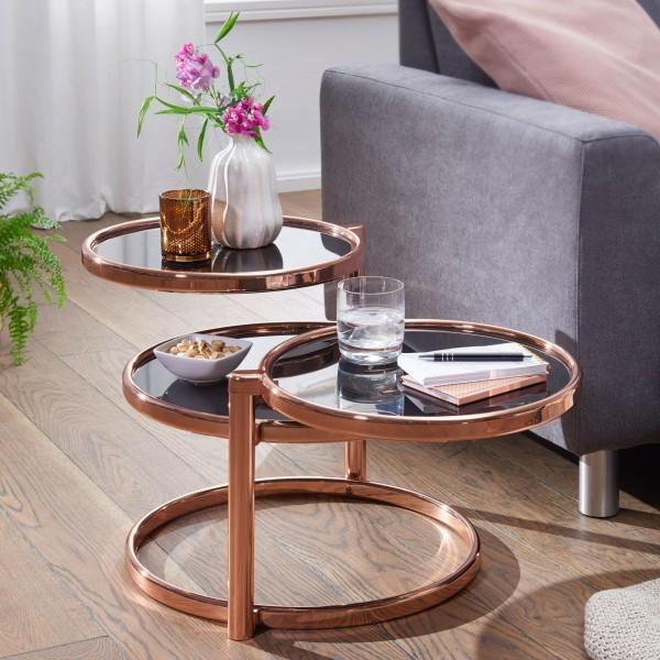 WOHNLING Couchtisch SUSI mit 3 Tischplatten Schwarz / Kupfer 58 x 43 x 58 cm | Beistelltisch Rund |