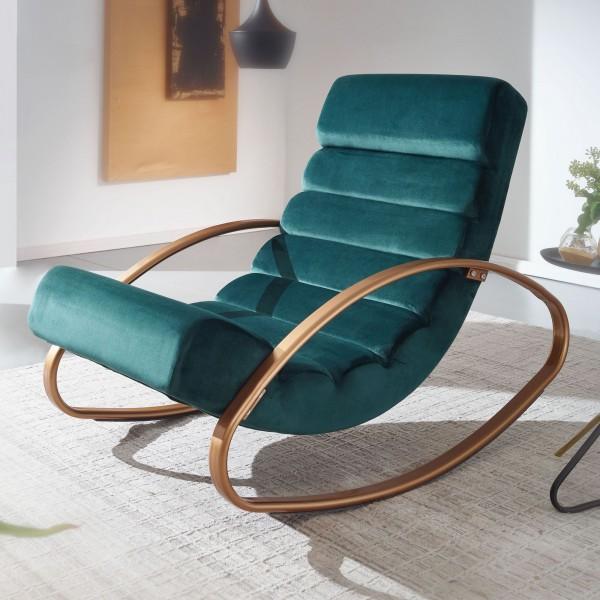 Wohnling Relaxliege Samt Grün / Gold - Relaxsessel Design Schaukelstuhl
