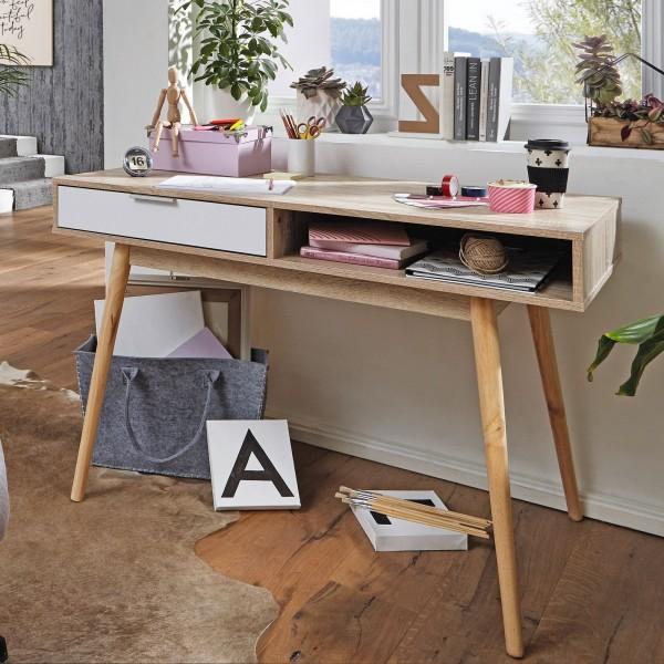 WOHNLING Design Schreibtisch mit Schublade SAMO Bürotisch Sonoma / Weiß 120 cm