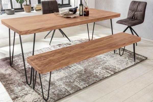 WOHNLING Esszimmer Sitzbank BAGLI Massiv-Holz Akazie 120 x 45 x 40 cm Holz-Bank Natur-Produkt Küchen