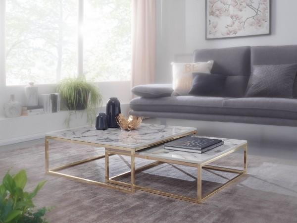 WOHNLING Design Couchtisch 2er Set Weiß Gold Marmor Optik Eckig