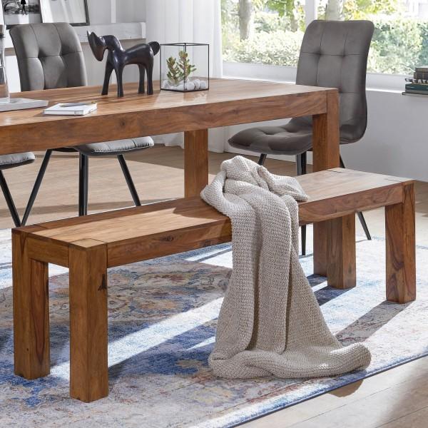 WOHNLING Esszimmer Sitzbank MUMBAI Massiv-Holz Sheesham 140 x 45 x 35 cm Holz-Bank Natur-Produkt