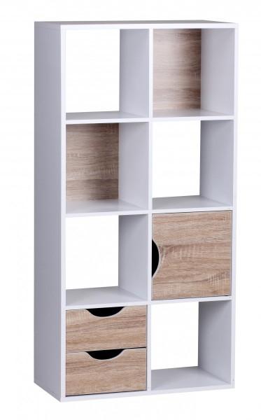 Wohnling Bücherregal 60 x 120 x 29 cm Weiß Sonoma Eiche mit Schubladen