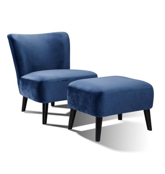 Prestige Sessel und Hocker Retro Samt - blau