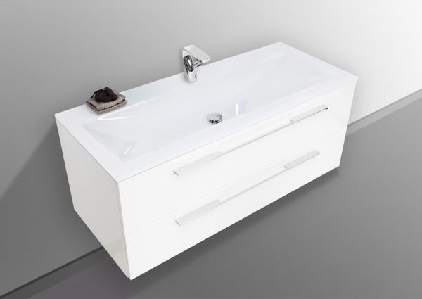 Waschtisch Set 120 cm Kristal mit Unterschrank und Glaswaschbecken Optiwhite