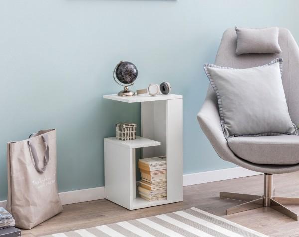 WOHNLING Beistelltisch WL5.696 35x29,5x60 cm Holz Weiß Design Anstelltisch Sofa | Couchtisch