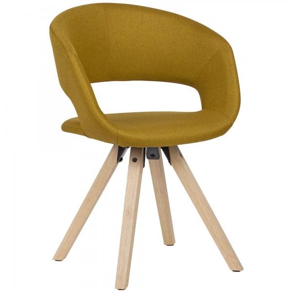 WOHNLING Esszimmerstuhl Curry Stoff / Massivholz Retro | Küchenstuhl mit Lehne | Stuhl mit Holzfüßen