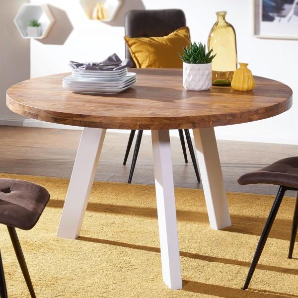Wohnling Esszimmertisch WL5.652 rund 130x130x77 cm Sheesham Massiv Esstisch Beine Weiß   Runder Holz