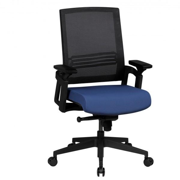 AMSTYLE Bürostuhl APOLLO A2 Stoffbezug Armlehne blau Chefsessel 120kg