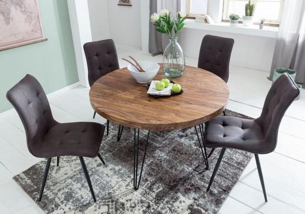 WOHNLING Design Esszimmertisch BAGLI rund Ø 120 x 78 cm Sheesham Massiv-Holz | Landhaus Esstisch